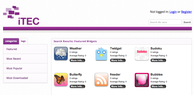 The front page of the ITEC App Store; in the browse list there is the same Weather widget as the one we reviewed on Edukapp